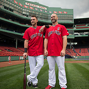 BOSTON, MA - MAY 6: Red Sox players and Jimmy Fund captains WIll Middlebrooks and David Ross pose for  photo with Jimmy Fund patient XX at Fenway Park on May 6, 2014 in Boston, Massachusetts.  (Photo by Michael Ivins/Boston Red Sox)