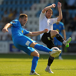 TELFORD COPYRIGHT MIKE SHERIDAN James McQuilkin of Telford closes down during the National League North fixture between AFC Telford United and Leamington AFC at the New Bucks Head on Monday, August 26, 2019<br /> <br /> Picture credit: Mike Sheridan<br /> <br /> MS201920-005
