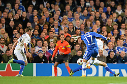 LONDON, ENGLAND - September 18: Chelsea's Eden Hazard takes a shot at goal during the UEFA Champions League Group E match between Chelsea from England and Basel from Switzerland played at Stamford Bridge, on September 18, 2013 in London, England. (Photo by Mitchell Gunn/ESPA)