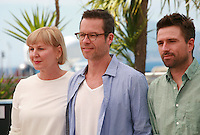 Actress Liz Watts, actor Guy Pearce, director David Michod, at the photo call for the film The Rover at the 67th Cannes Film Festival, Sunday 18th May 2014, Cannes, France.