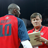 10 August 2012: Kobe Bryant talks to sideline reporter Craig Sager prior to the 109-80 Team USA victory over Team Argentina, during the men's basketball semi-finals, at the North Greenwich Arena, in London, Great Britain.