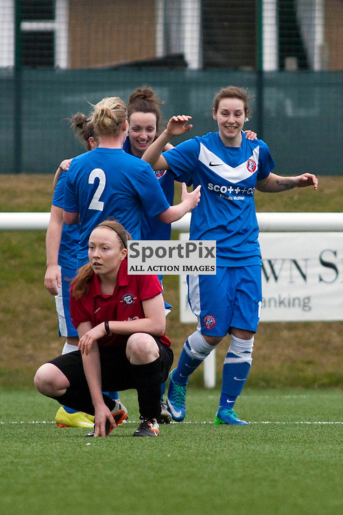 Sarah Ewens (Spartans 19) celebrates her goal 2-2 forcing the game to extra time. Spartans v Falkirk Scottish Women's Premier League Cup Round 1 03 March 2013 (c) Russell Sneddon | StockPix.eu
