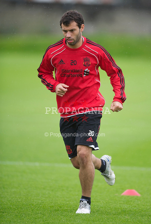LIVERPOOL, ENGLAND - Wednesday, August 4th, 2010: Liverpool's Javier Mascherano training at Melwood ahead of the UEFA Europa League 3rd Qualifying Round 2nd Leg match against FK Rabotnicki. (Pic by: David Rawcliffe/Propaganda)