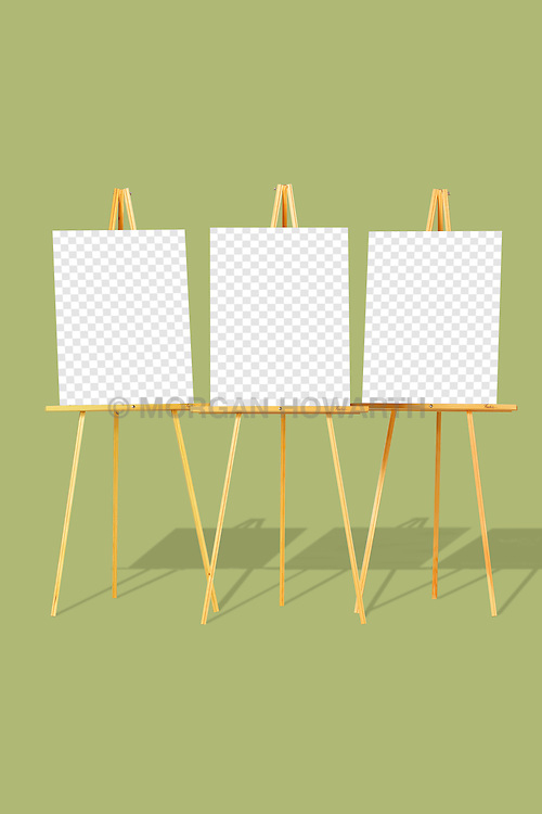 poster 001 easel,easels,display,three,3, Three blank easels in a row