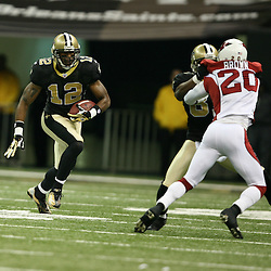 2007 December, 16: New Orleans Saints wide receiver Marques Colston (12) runs after a catch during a 31-24 win by the New Orleans Saints over the Arizona Cardinals at the Louisiana Superdome in New Orleans, LA.