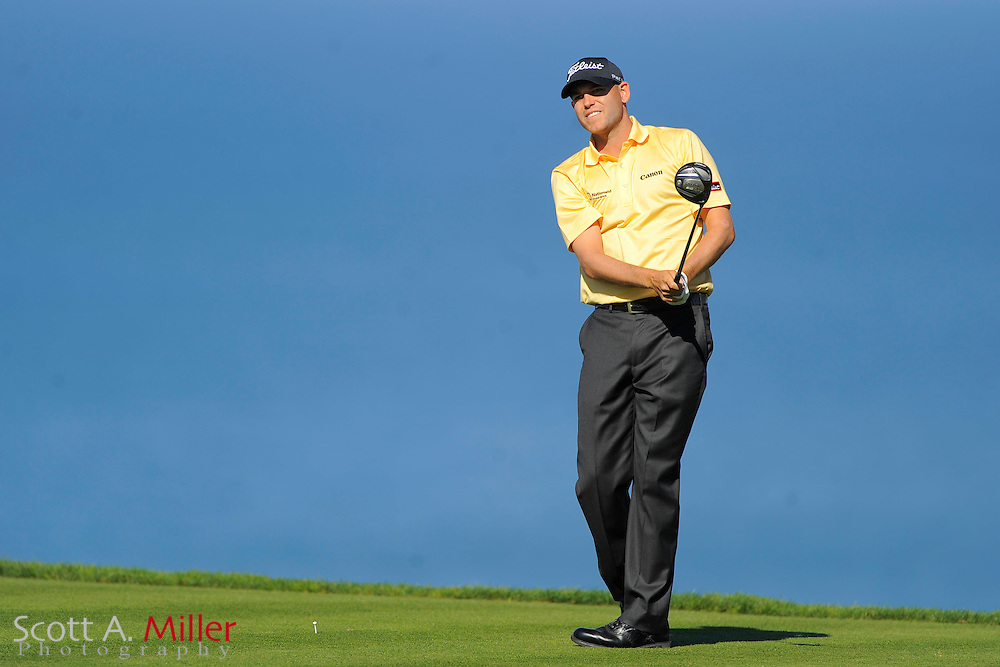 Bill Haas tees off on the fifth hole during the third round of the Farmers Insurance Open on the South Course at Torrey Pines on Jan. 28, 2012 in La Jolla, California. ..©2012 Scott A. Miller