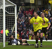 28/02/2004  -  Nationwide Div 1 Watford v Wimbledon.Watford?s Scott Fitzgerld goes into celebration prematurely as referee Ray Olivier disallows the goal..Watford skipper Neil Cox [right] and Wimbledon Keeper Steve Banks sitting.