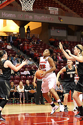 04 November 2015: Viria Livingston(23) takes an inside shot surrounded by defenders. Illinois State University Women's Basketball team hosted The Lions from Lindenwood for an exhibition game at Redbird Arena in Normal Illinois.