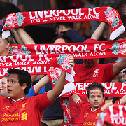 Liverpool fans singing 'you'll never walk alone' before the Liverpool Vs AS Roma friendly pre season football match at Fenway Park, Boston. USA. 23rd July 2014. Photo Tim Clayton