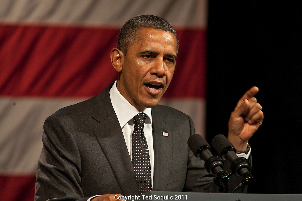 President Barack Obama speaks at a fundraiser held at the House of Blues on the Sunset Strip. Proceeds from the event will go to the Obama Victory Fund 2012.