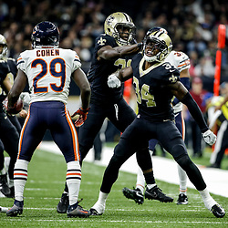 Oct 29, 2017; New Orleans, LA, USA; New Orleans Saints cornerback Justin Hardee (34) reacts after a stop against Chicago Bears punt returner Tarik Cohen (29) during the first half of a game at the Mercedes-Benz Superdome. Mandatory Credit: Derick E. Hingle-USA TODAY Sports