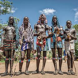 Portrait of five young Hamer-Bena men, Key Afer, Omo Valley, Ethiopia, Africa