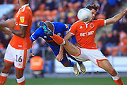 GOAL Calvin Andrew diving header equalises 2-2 during the EFL Sky Bet League 1 match between Blackpool and Rochdale at Bloomfield Road, Blackpool, England on 6 October 2018.