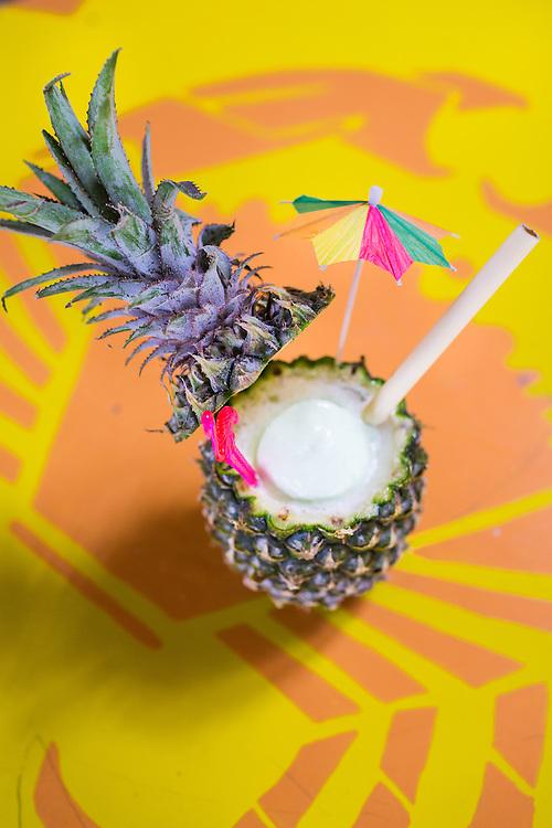 Coco-Colada Pinada colada bionically enhanced with coconut pandan gelato.