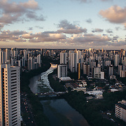 Aerial view of Recife, capital of Pernambuco and epicentre of Zika Virus cases. in the last 20 years in Recife they have built many more buildings than those who the sewer system could stand, for this reason its most important river, the Capibaribe, is highly polluted.