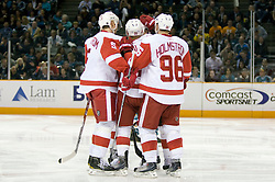 April 29, 2010; San Jose, CA, USA; Detroit Red Wings defenseman Brian Rafalski (28) is congratulated after scoring a goal against the San Jose Sharks during the third period in game one of the western conference semifinals of the 2010 Stanley Cup Playoffs at HP Pavilion.  San Jose defeated Detroit 4-3. Mandatory Credit: Jason O. Watson / US PRESSWIRE
