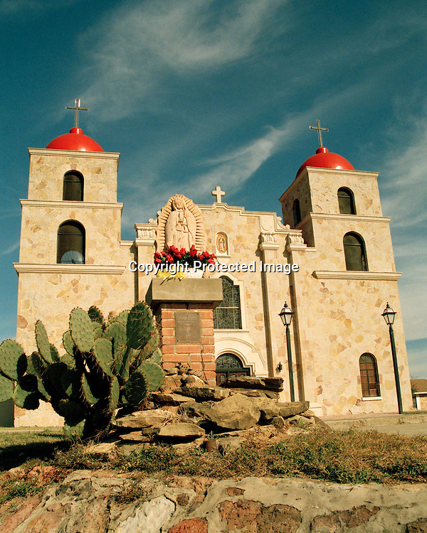 "Our Lady of Guadalupe Catholic Church in Carrizo Springs, Texas. NOTE: Click ""Shopping Cart"" icon for available sizes and prices. If a ""Purchase this image"" screen opens, click arrow on it. Doing so does not constitute making a purchase. To purchase, additional steps are required."