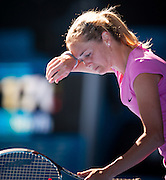 Klara Zakopalova (CZE) feels the heat in Day 1 of Australian Open play. Aussie Samantha Stosur beat  Zakopalova 6-3, 6-4 in first round play of the 2014 Australian Open at Melbourne's Rod Laver Arena. beat Klara Zakopalova (CZE) 6-3, 6-4 in first round play of the 2014 Australian Open at Melbourne's Rod Laver Arena.