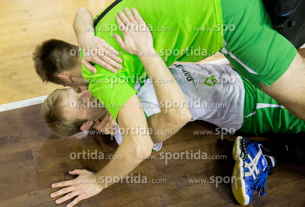 Ivan Colovic of Panvita Pomgrad celebrates after winning during volleyball game between OK ACH Volley and OK Panvita Pomgrad in 1st final match of Slovenian National Championship 2013/14, on April 6, 2014 in Arena Tivoli, Ljubljana, Slovenia. Photo by Vid Ponikvar / Sportida