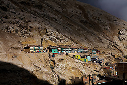 Homes are nestled into the side of a mountain in La Oroya Vieja, the part of town closest to the Doe Run Peru Metallurgic Complex