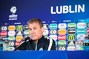 LUBLIN, POLEN 2017-06-21<br /> Pavel Hapal under Slovakiska U21 landslagets MD-1 presskonferens p&aring; Arena Lublin, den 21 juni i Lublin, Polen.<br /> Foto: Nils Petter Nilsson/Ombrello<br /> Fri anv&auml;ndning f&ouml;r kunder som k&ouml;pt U21-paketet.<br /> Annars Betalbild.<br /> ***BETALBILD***