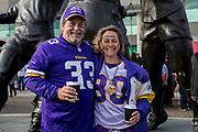 Minnesota Vikings fans pose outside Twickenham during the International Series match between Cleveland Browns and Minnesota Vikings at Twickenham, Richmond, United Kingdom on 29 October 2017. Photo by Jason Brown.