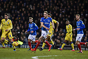 Portsmouth Defender, Matt Clarke (5) clears the ball during the EFL Sky Bet League 1 match between Portsmouth and Bristol Rovers at Fratton Park, Portsmouth, England on 19 February 2019.