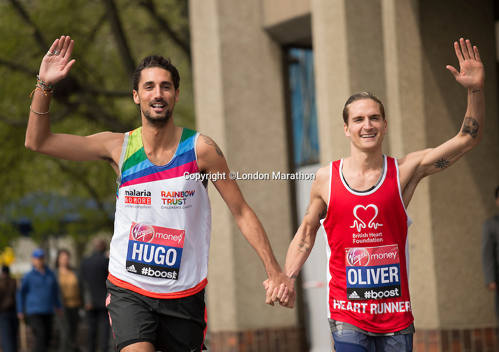 Virgin Money London Marathon 2015<br /> Left to Right<br /> Hugo Taylor & Oliver Proudlock-UK (both in Made in Chelsea)  celebrities  competing in the Virgin Money London Marathon<br /> <br /> Photo: Bob Martin for Virgin Money London Marathon<br /> <br /> This photograph is supplied free to use by London Marathon/Virgin Money.