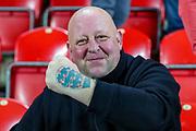An England fan shows off his England tattoo during the UEFA European 2020 Qualifier match between Czech Republic and England at Sinobo Stadium, Prague, Czech Republic on 11 October 2019.