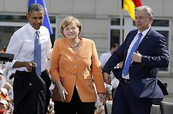 59867210<br /> Governing Mayor Klaus Wowereit Chancellor Angela Merkel and U.S. President Barack Obama after his Speech at Brandenburg Gate in Berlin, Germany, Barack Obama speaks before the Brandenburg Gate in Berlin, Germany, Wednesday June 19, 2013.<br /> UK ONLY