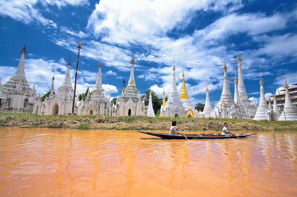 Pagodas, Inle Lake, Myanmar.