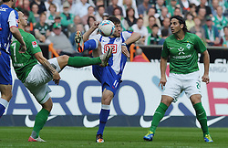 25.09.2011, Weserstadion, Bremen, GER, 1.FBL, Werder Bremen vs Hertha BSC, im Bild Marko Arnautovic (Bremen #7), Tunay Torun (Berlin #11), Claudio Pizarro (Bremen #24)..// during the match Werder Bremen vs Hertha BSC on 2011/09/25, Weserstadion, Bremen, Germany..EXPA Pictures © 2011, PhotoCredit: EXPA/ nph/  Frisch       ****** out of GER / CRO  / BEL ******