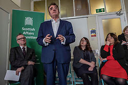 Pictured: Pete Wishart, Tommy Shephard, Danielle Rowley, Christine Jardine <br /> <br /> Today at the Crew 2000 offices in Edinburgh, the chair of the Scottish Affairs Committee Pete Wishart MP launched an inquiry into drug misuse in Scotland.  He was joined by members of his committee, Tommy Shephard (SNP), Danielle Rowley MP (Labour) and Christine Jardine (Lib Dem)<br /> <br /> <br /> Ger Harley | EEm 4 March 2019
