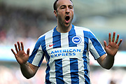 Brighton & Hove Albion centre forward Glenn Murray (17) scores a goal 1-0 and celebrates during the EFL Sky Bet Championship match between Brighton and Hove Albion and Blackburn Rovers at the American Express Community Stadium, Brighton and Hove, England on 1 April 2017.