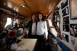 UK ENGLAND LONDON 30APR16 - London Canal boat residents Duncan Stevens and his parter Keziah Moynihan on their boat, the 'Gremlin' near Haggerston, east London.<br /> <br /> <br /> <br /> jre/Photo by Jiri Rezac<br /> <br /> <br /> <br /> © Jiri Rezac 2016