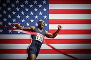 Runner Breaking Finish Line Tape
