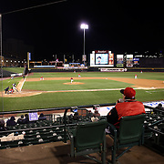 Fans in the stands on a cold and wet evening during the Rochester Red Wings V The Scranton/Wilkes-Barre RailRiders, Minor League ball game at Frontier Field, Rochester, New York State. USA. 16th April 2013. Photo Tim Clayton