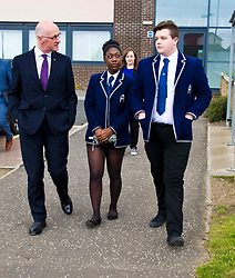 Pictured: John Swinney was welcomed to St Augustine's by six form prefects<br /> <br /> Deputy First Minister and Education Secretary John Swinney visited St Augiustine's RC High School in Edinburgh to speak to young people about attainment and leaving schools with the suite of statistics published today. St Augustine's RC High School<br /> <br /> <br /> Ger Harley | EEm 19 June 2018