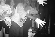 Raver with gloves, Dream FM Pirate Radio Benefit, Labyrinth Dalston, London, 1994.
