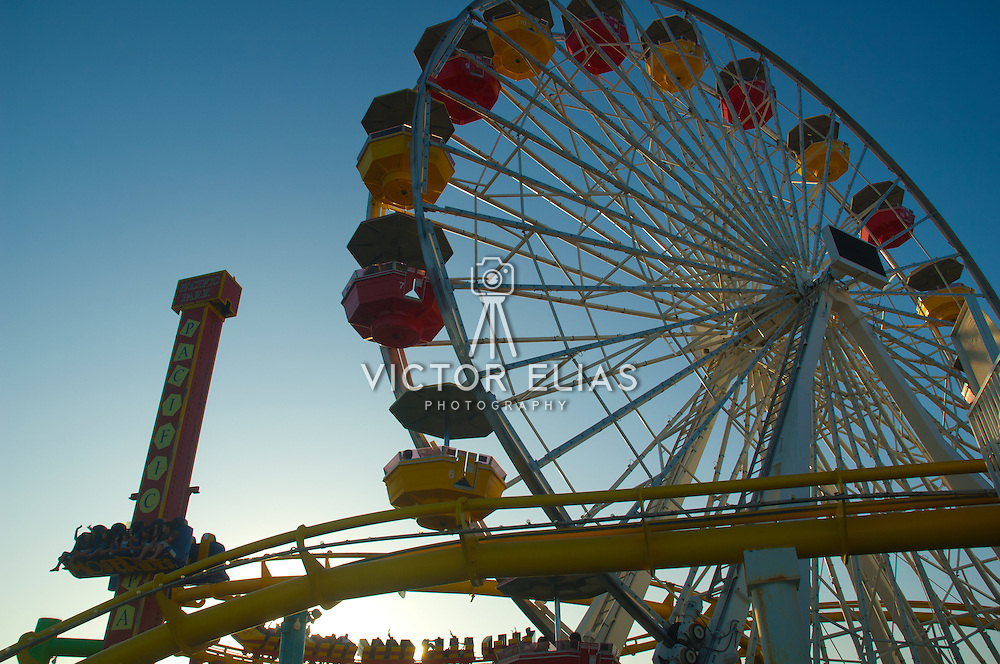 Roller coaster at Santa Monica Pier amusement park, CA.USA.