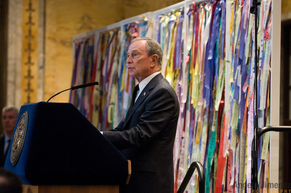 The Ribbons of Hope project is installed at the New York Public Library for New York City Mayor Michael Bloomberg's annual interfaith breakfast on December 30, 2011. ..Photograph by Angela Jimenez for Intersections International.Angela Jimenez Photography.www.angelajimenezphotography.com