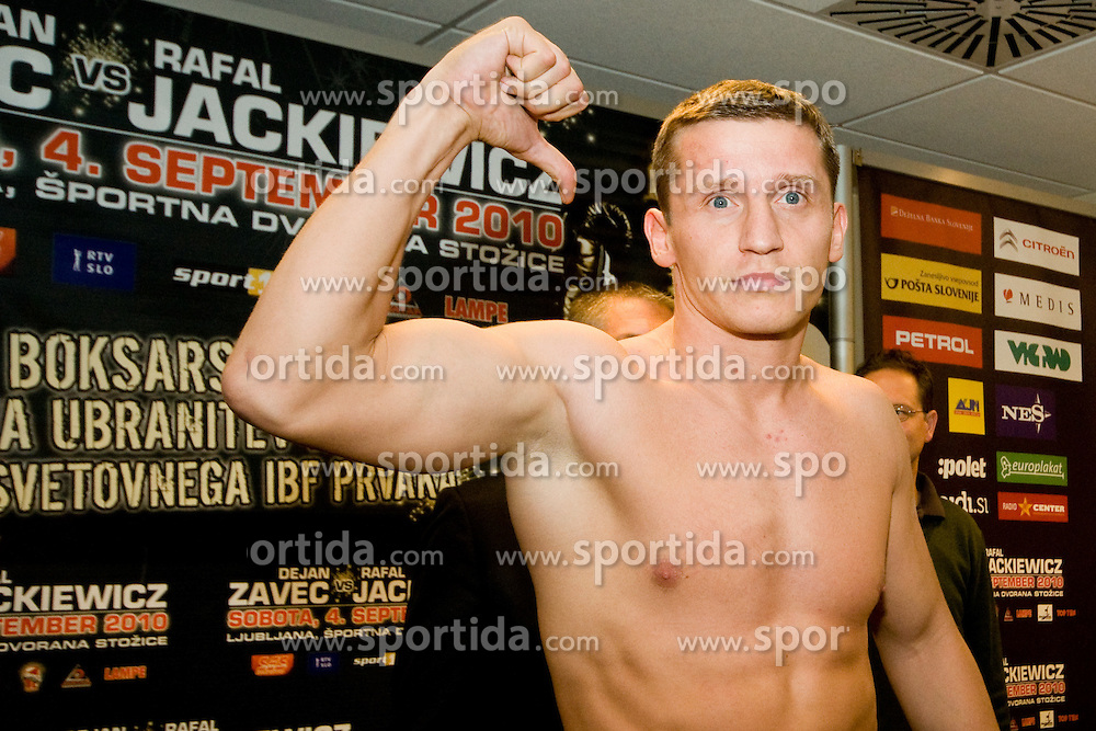 Denis Simcic of Slovenia at official weighing 1 Day before IBF World Champion title fight, on September 3, 2010, in Hotel Lev, Ljubljana, Slovenia. (Photo by Matic Klansek Velej / Sportida)