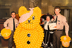 COLLECT: Joyce Rose, a former tea lady at at the BBC who gave bosses the idea for Children In Need, with Pudsey and scouts at the BBC studios. London, November 14 2018.