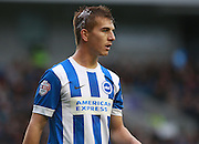 Brighton defender Uwe Huenemeier suffered a head injury during the Sky Bet Championship match between Brighton and Hove Albion and Preston North End at the American Express Community Stadium, Brighton and Hove, England on 24 October 2015. Photo by Bennett Dean.
