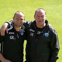 St Johnstone Training....23.08.12<br /> Graham Kirk (left) Sports Science and Physio John Kerr<br /> Picture by Graeme Hart.<br /> Copyright Perthshire Picture Agency<br /> Tel: 01738 623350  Mobile: 07990 594431