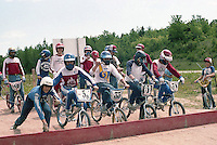 Riders Ready, Pedals Set....Matt Marenger, Frank Bink, John Duflo, Jim Mercure, and Ron Young on the gate, plus Bill Yelle, Doug Cretins and Ben Peterson.Northstate BMX, Marquette, MI, 1982