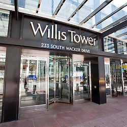 Chicago Willis Tower (Sears Tower) sign high resolution photo. Willis Tower is one of the tallest buildings in Chicago and the world.