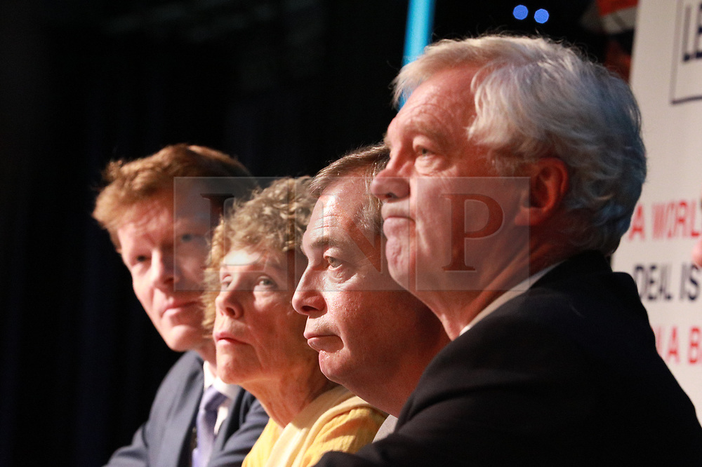 "© Licensed to London News Pictures . 22/09/2018. Bolton, UK. RICHARD TICE, KATE HOEY, NIGEL FARAGE and DAVID DAVIS . Pro Brexit campaign group Leave Means Leave host a "" Save Brexit "" and "" Chuck Chequers "" rally at the University of Bolton Stadium , attended by leave-supporting politicians from a cross section of parties , including Conservative David Davis , former UKIP leader Nigel Farage and Labour's Kate Hoey . Photo credit: Joel Goodman/LNP"