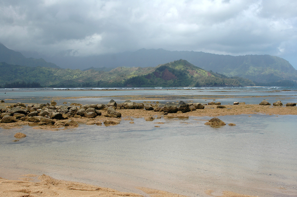 Mountain view from Hanelei Bay. Kauai, Hawaii