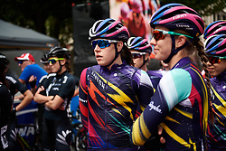 Tanja Erath (GER) waits to sign on during Stage 4 of 2020 Santos Women's Tour Down Under, a 42.5 km road race in Adelaide, Australia on January 19, 2020. Photo by Sean Robinson/velofocus.com